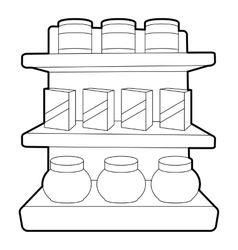 Shop shelves icon outline style vector image