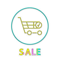 shopping trolley sale notification linear icon vector image