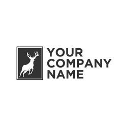 Silhouette deer logo vector
