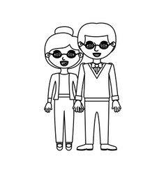 Sketch silhouette couple with glasses in casual vector