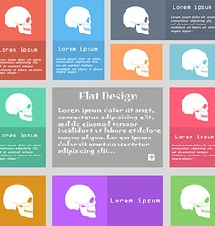 Skull icon sign Set of multicolored buttons with vector image