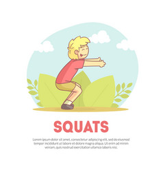 Squats banner with space for text active boy vector