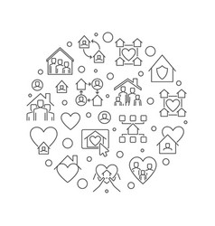 stay at home linear concept circular vector image