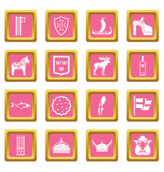 sweden travel icons pink vector image