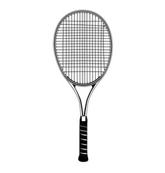 Tennis racket black silhouette isolated vector