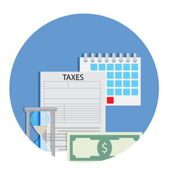Time for taxation icon vector