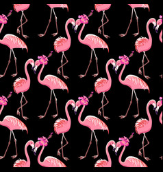 Two pink flamingos on a black background seamless vector