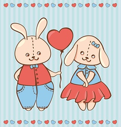 two valentine rabbit in love vector image