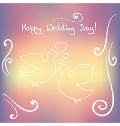 Weddind card with silhouette of bird and heart vector image