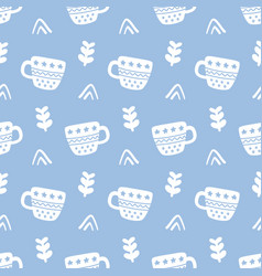 winter decorative cups doodles seamless pattern vector image