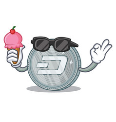 With ice cream dash coin character cartoon vector