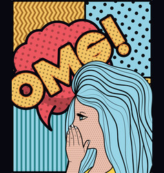 woman saying omg pop art style vector image