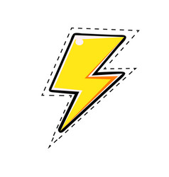 Yellow electric lightning bolt comic vector