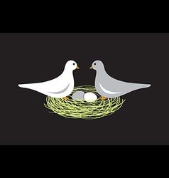 Birds in nest with eggs vector
