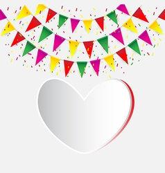 Celebrate banner party flags with confetti vector image vector image