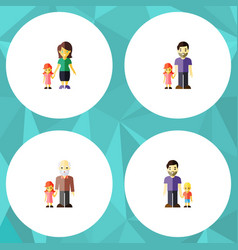 flat icon family set of grandpa father son vector image vector image