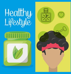 healthy man with natural treatment pills vector image vector image