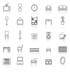 Living room line icons with reflect on white vector image