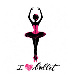 silhouette of young ballerina vector image
