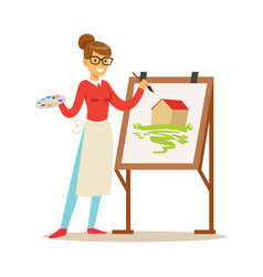 woman artist holding palette and brush standing vector image