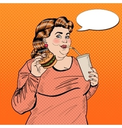 Pop Art Fat Woman Eating Fast Food and Drinking vector image vector image