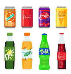 set of soft drinks in plastic and aluminum vector image vector image