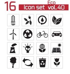 black eco icons set vector image