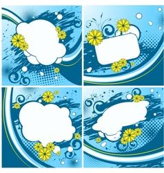 Four blue floral backgrounds vector image