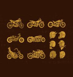 handrawn vintage motorcycle and helmet skull biker vector image