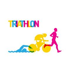 logo sport triathlon vector image vector image