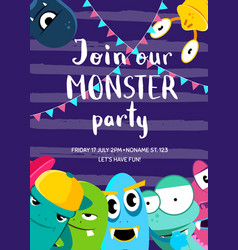 monster party invitation poster with crowd vector image vector image