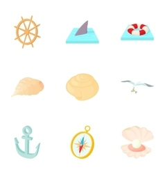 Ocean icons set cartoon style vector image vector image