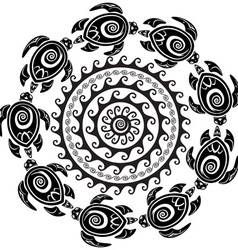 Round pattern with decorated turtles vector image