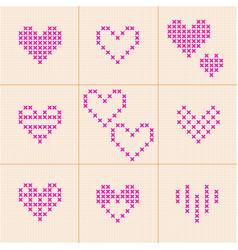 valentine day set of 9 hearts cross-stitch vector image