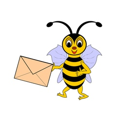 A funny cartoon bee with a letter in its hand vector image vector image