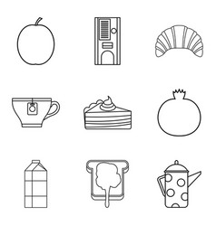 creamy oil icons set outline style vector image vector image