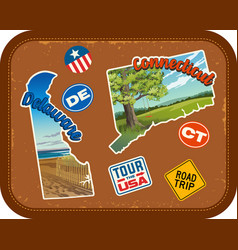 delaware connecticut travel stickers vector image vector image