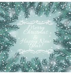 Greeting card with Christmas tree and snowflakes vector image