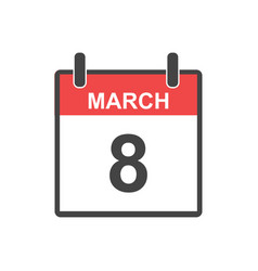 March 8 calendar icon international womens day in vector