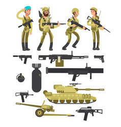 military soldiers with ammunition guns and vector image
