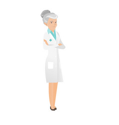 Senior caucasian confident doctor with folded arms vector
