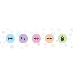 5 barbell icons vector