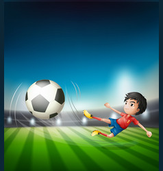 a football player kicking ball vector image