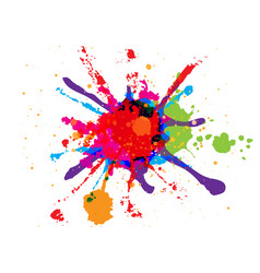Abstract splatter red orange green blue pink vector