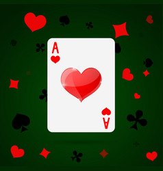 Ace hearts playing card vector