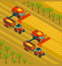 Agriculture isometric background vector
