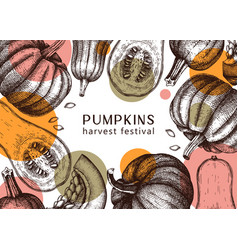 autumn harvest festival design with pumpkins vector image