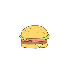 big beef burger with vegetables simple junk food vector image