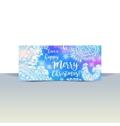 Blue and white winter typography horizontal flyer vector