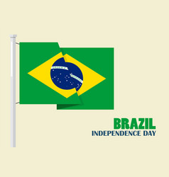 brazil independence day with flag vector image